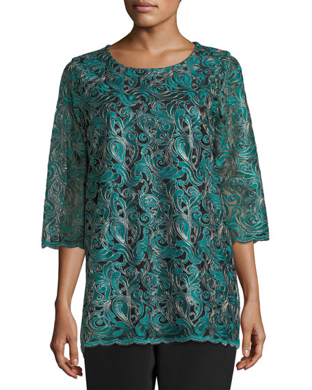Caroline Rose Lux Embroidered Tunic, Petite and Matching