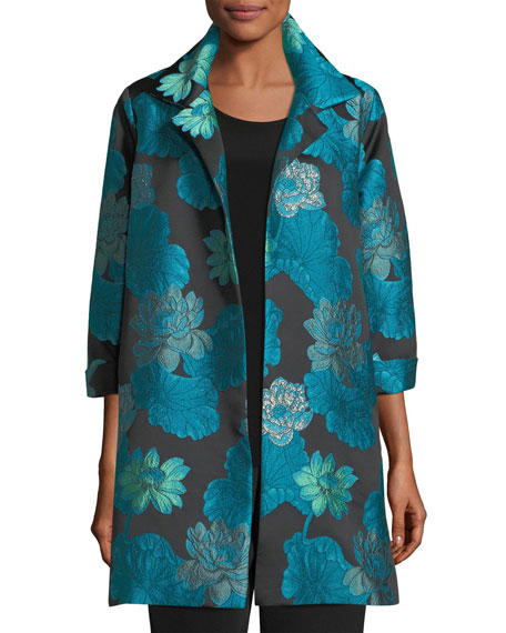 Caroline Rose Gilded Lilly Jacquard Party Jacket, Plus