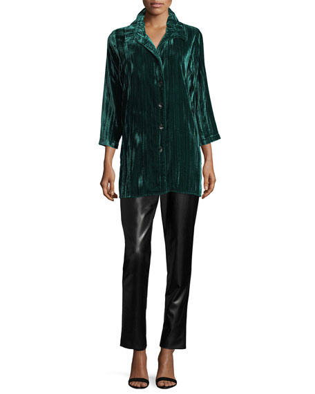Long Crinkled Velvet Shirt, Petite