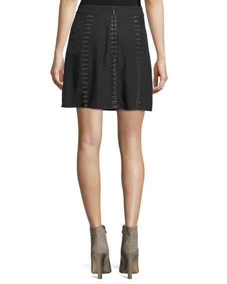 Sagat Camo Silk Mini Skirt W/ Grommets