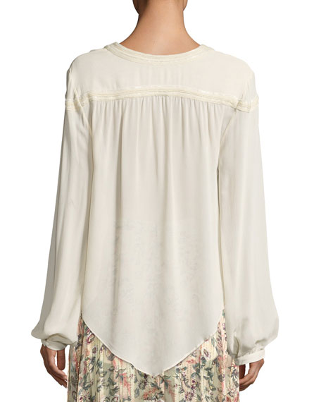 Goldie Split-Neck Tassel-Tie Long-Sleeve Blouse