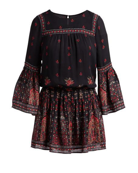 Armel Floral-Print Long-Sleeve Dress, Black