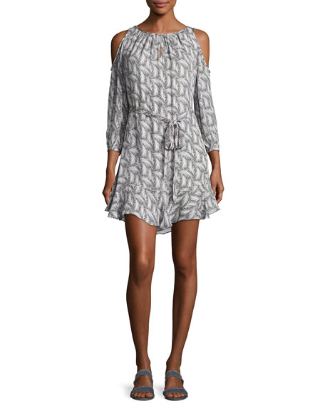 Isaline Feather Cold-Shoulder Dress, Gray