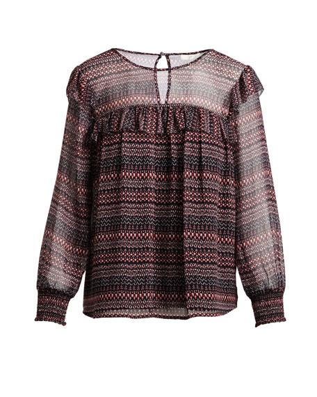 Adelais Geo Stripe Long-Sleeve Blouse