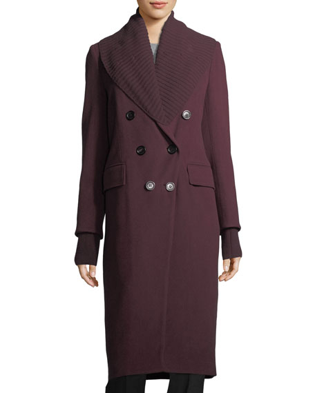 Burberry Cashmere Double-Breasted Coat w/ Ribbed Trim