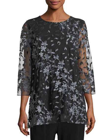 Caroline Rose Floral Notes Layered Tunic, Petite