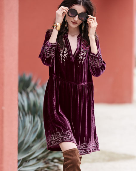 Flores 3/4-Sleeve Boho Velvet Dress w/ Floral Embroidery