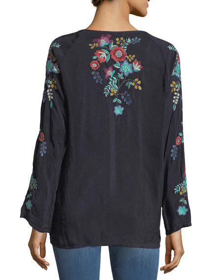 Kikimu Embroidered Georgette Blouse, Petite