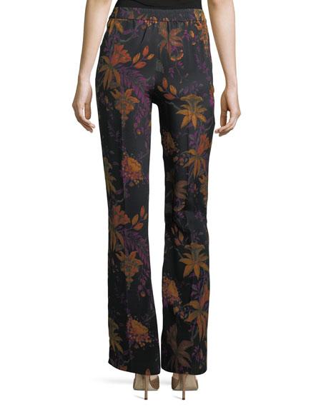 Ori Floral-Print Wide-Leg Silk Pants