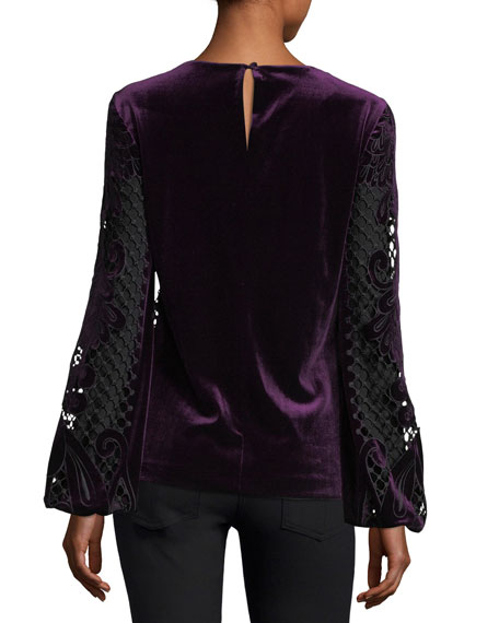 Sarina Long-Sleeve Crocheted Velvet & Satin Blouse