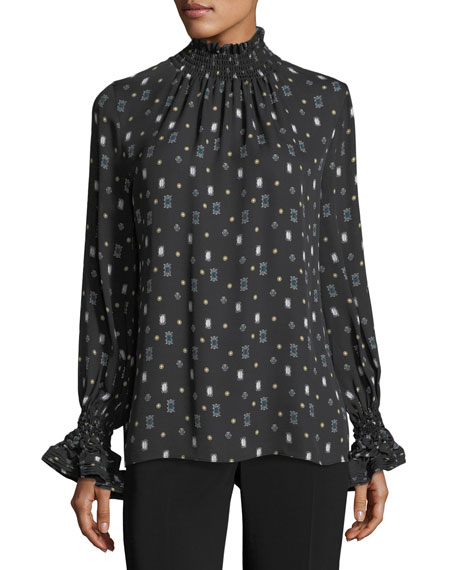 Julissa Mock-Neck Printed Silk Blouse