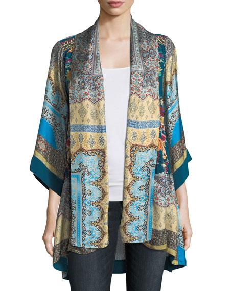 Koben Printed Silk Kimono, Plus Size
