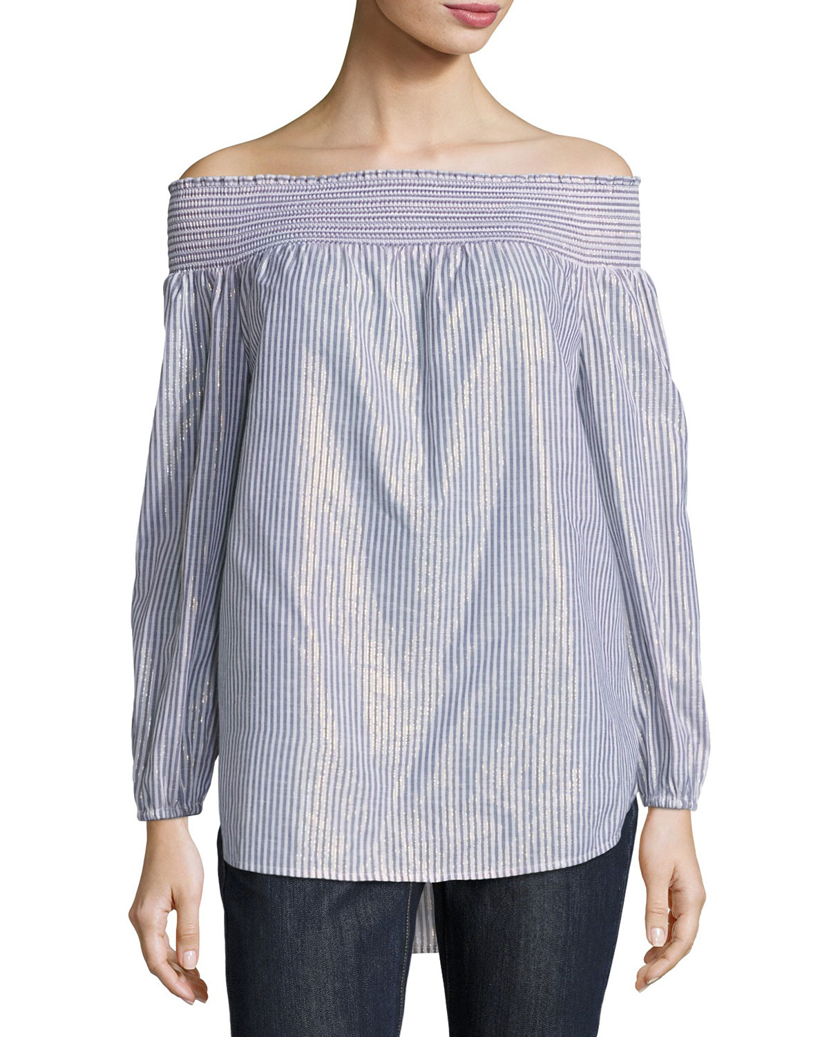3f7ed501e MICHAEL Michael Kors Off-the-Shoulder Metallic Striped Top | Neiman ...