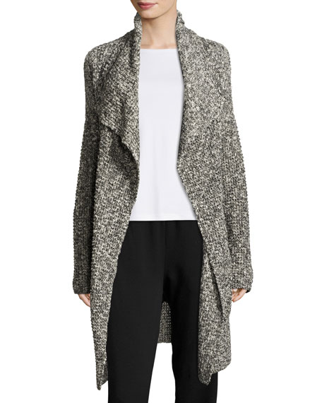 Eileen Fisher Long Draped Open Cardigan, Black/White