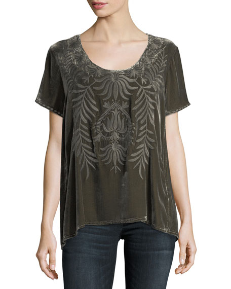 Saskla Flutter-Sleeve Embroidered Velvet Top
