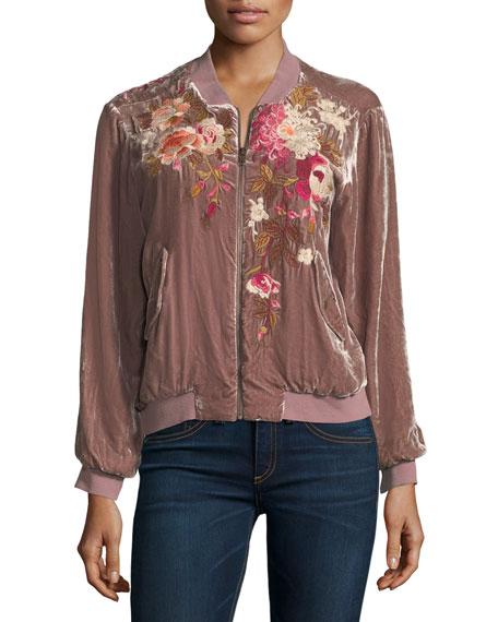 Chrys Velvet Embroidery Bomber Jacket