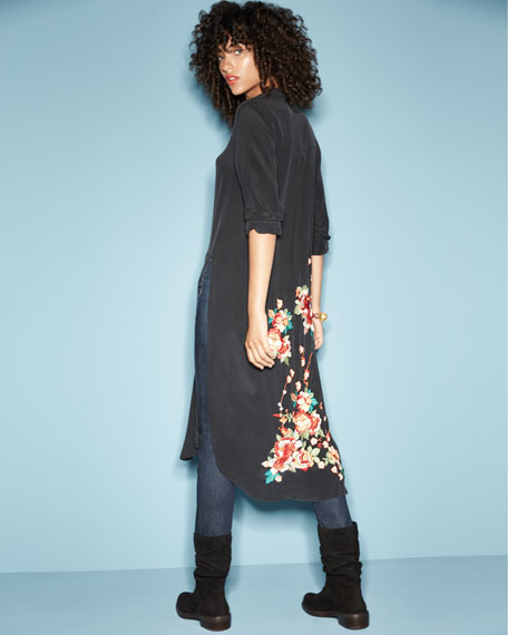 Cherry Floral Embroidered Long Tunic, Blue, Plus Size