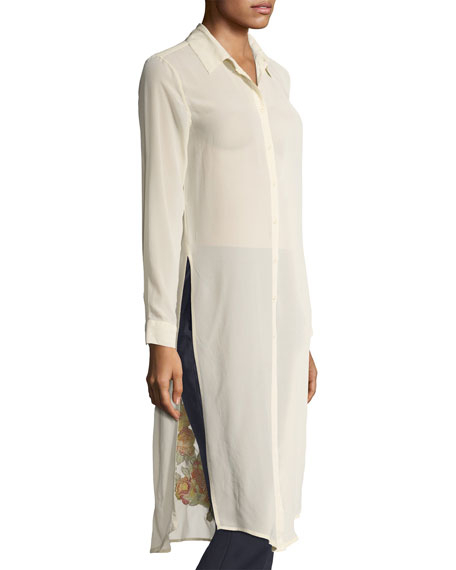 Cherry Floral Embroidered Long Tunic, Plus Size