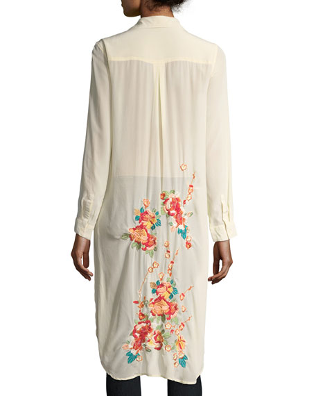 Cherry Floral Embroidered Long Tunic