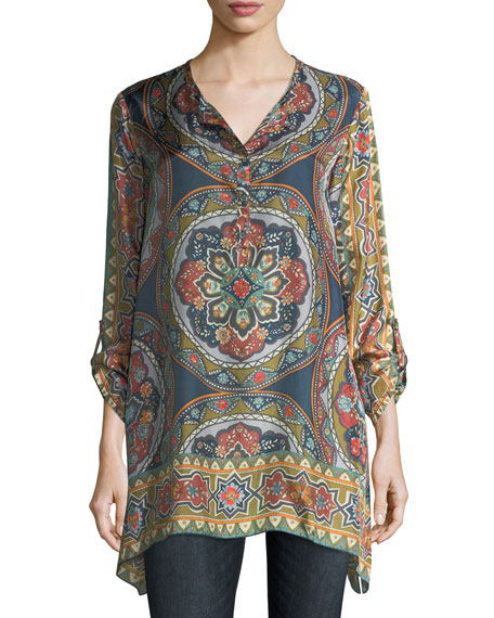 Johnny Was Spezia Long-Sleeve Printed Silk Georgette Tunic,