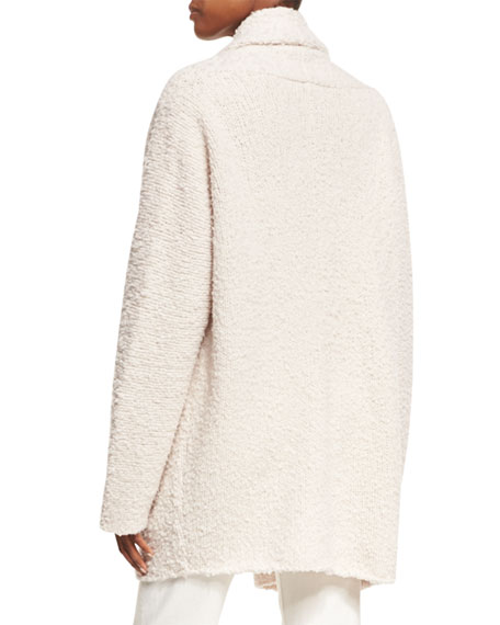 Drape Front Merino Wool Cardigan Sweater
