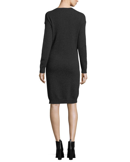 Long-Sleeve Tie-Waist Sweater Dress