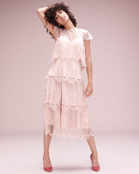 Elsa Tiered Lace Midi Dress, Blush