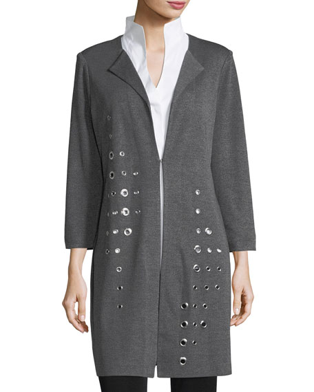 Image 3 of 3: Misook Plus Size Grommet Long 3/4-Sleeve Jacket