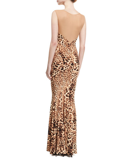 Sleeveless Leopard-Print Combo Fishtail Gown