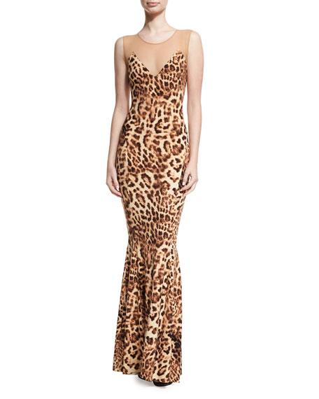 Sleeveless Leopard-Print Combo Fishtail Gown