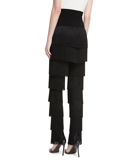 Fringed Boot-Cut Pants