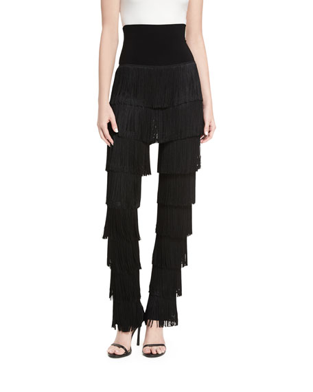 Norma Kamali Fringed Boot-Cut Pants
