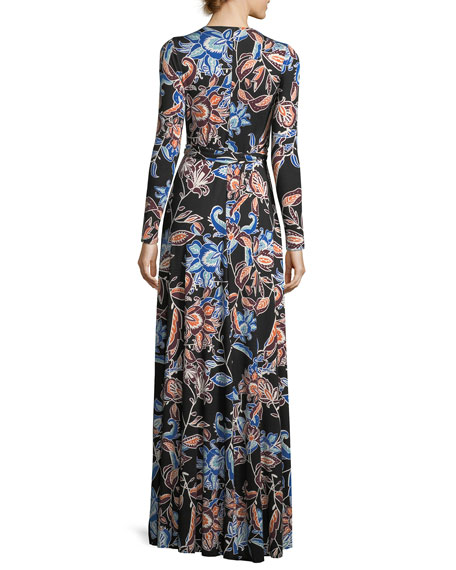 Harlow Long-Sleeve Floral-Print Jersey Wrap Dress, Plus Size