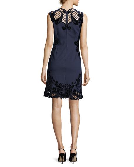 Delany Sleeveless Velvet Lace-Trimmed Dress