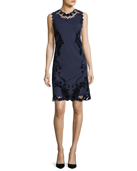 Kobi Halperin Delany Sleeveless Velvet Lace-Trimmed Dress