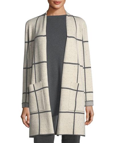 Peppered Windowpane Wool-Blend Simple Long Jacket, Plus Size