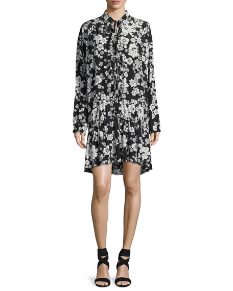 Boutique Moschino Long-Sleeve Flower-Print Ruffle-Hem Dress