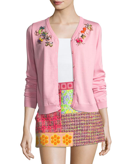 Boutique Moschino Wool Cardigan w/ Crystal Butterfly