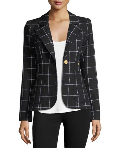 Duchess Grid Single-Button Blazer w/ Leather