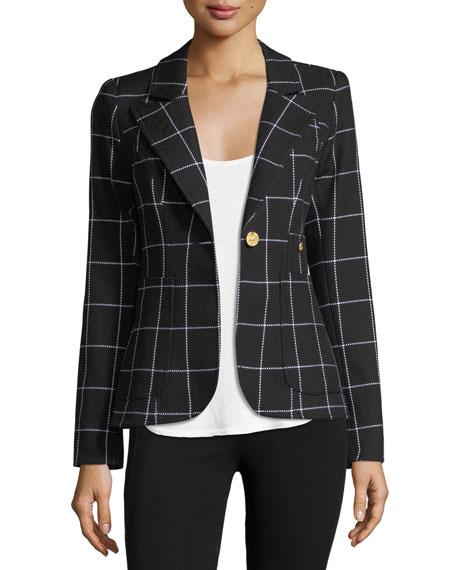 Smythe Duchess Grid Single-Button Blazer w/ Leather