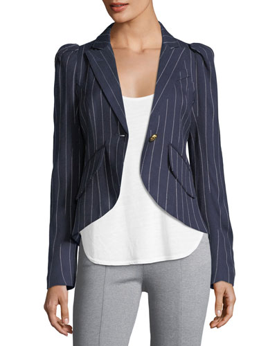 Pouf-Sleeve One-Button Pinstriped Blazer