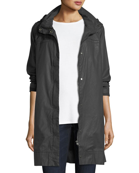 Eileen Fisher Waxed Cotton Hooded Jacket
