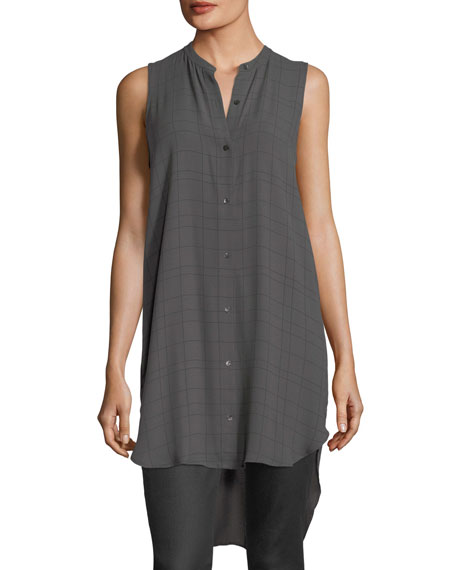 Eileen Fisher Long-Sleeve Plaid Twill Crepe Top, Bark,