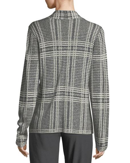 Sleek Printed Tencel®/Merino Shaped Cardigan