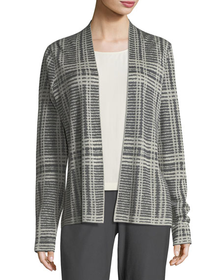 Eileen Fisher Sleek Printed Tencel®/Merino Shaped Cardigan