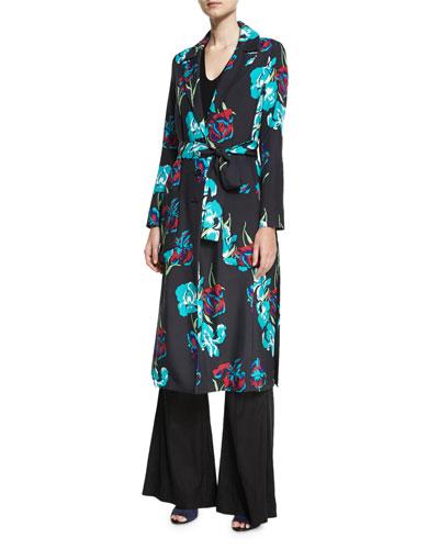 Collared Floral-Printed Silk Coat