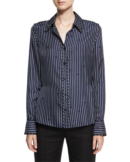 Diane von Furstenberg Long-Sleeve Collared Silk Striped Shirt