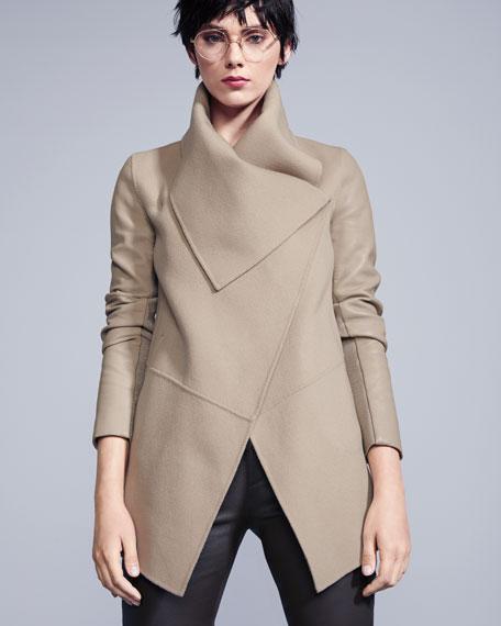 Vane Waterfall Collar Wool-Blend Coat