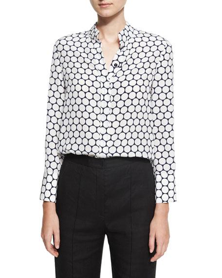 Long-Sleeve Collared Cuffed Silk Shirt