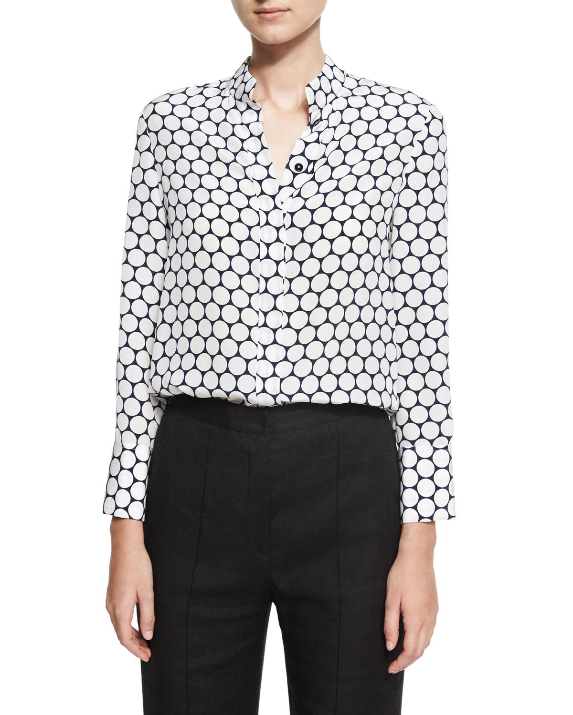 2d9fe3fae7b81 Diane von Furstenberg Long-Sleeve Collared Cuffed Silk Shirt ...